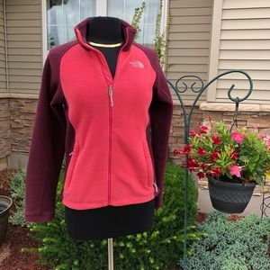 The North Face Maroon and Pink Zip Fleece Small